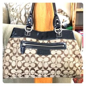 💕 Coach brown tan jacquard medium satchel nice 💕